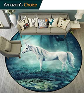 Fantasy Princess Tent Rugs Enchanted Forest Unicorn Bedroom Luxurious Diameter-47