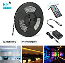 Nexlux LED Strip Lights, 32.8ft Waterproof IP65 5050 SMD RGB LED Flexible Strip Light Black PCB Board Color Changing Decoration Lighting 44 Key RF Controller+ UL Approved Power Adapter