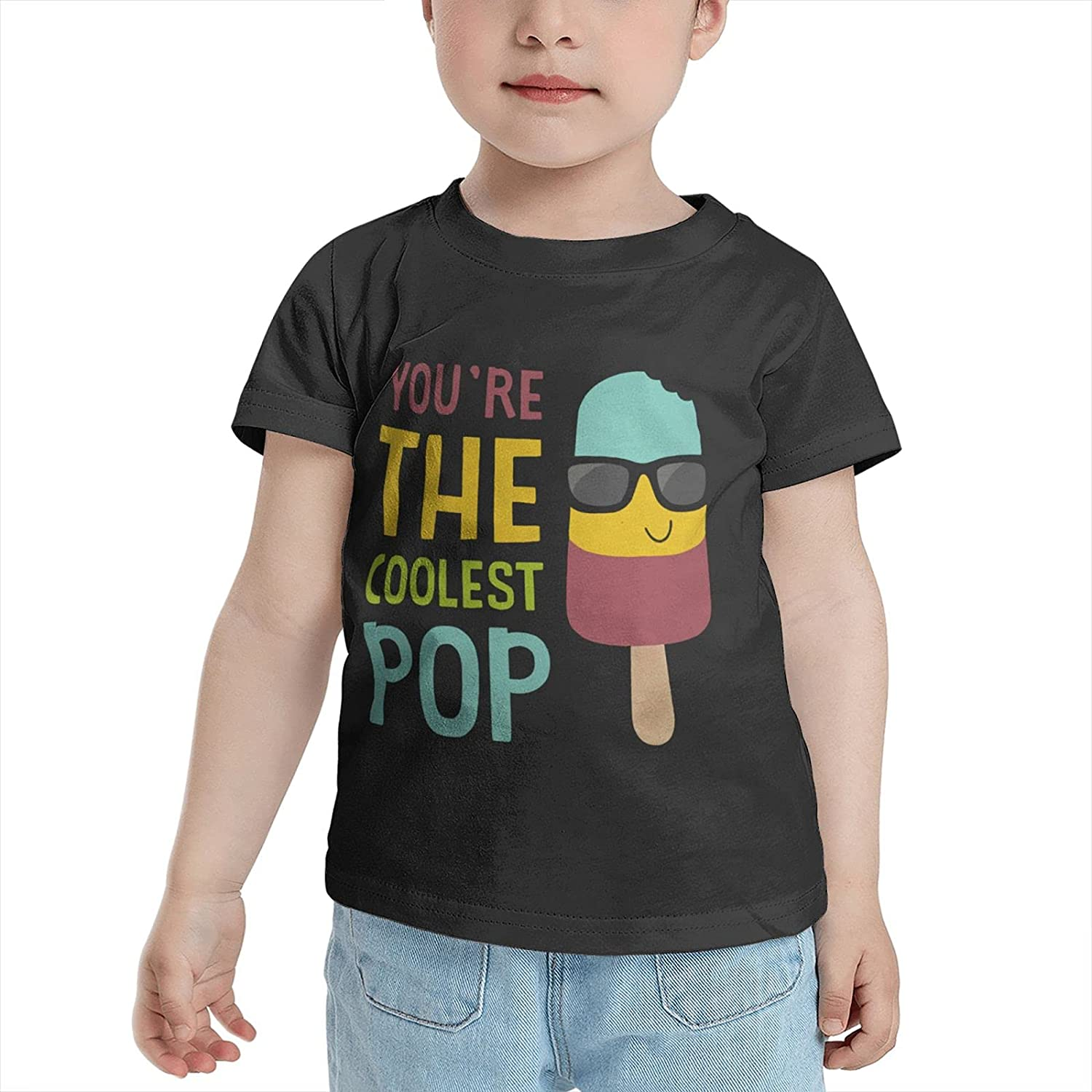 You're The Coolest Pop Children's T-Shirt Pure Cotton Short-Sleeved T-Shirt for Boys and Girls, 100% Allergy-Free Cotton Round Neck Unisex 2t Black