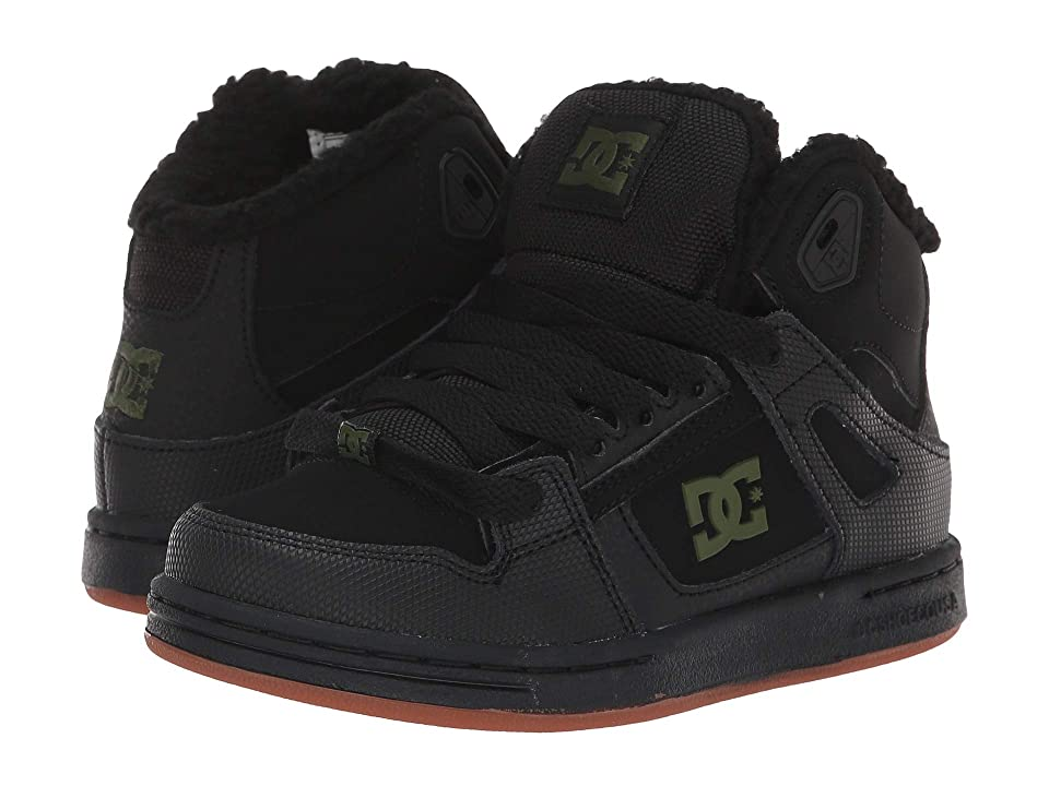 DC Kids Pure High-Top WNT (Little Kid/Big Kid) (Black/Black/Green) Boys Shoes