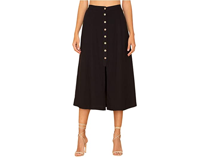 Miss Me Black Button-Down A-Line Skirt
