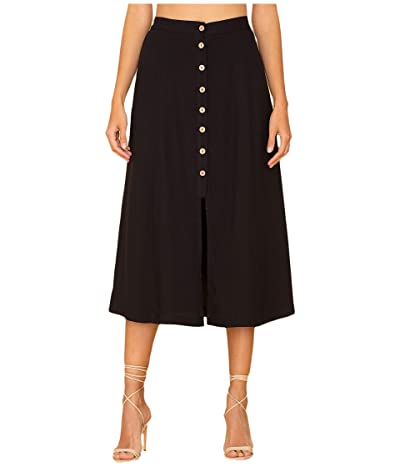 Miss Me Button-Down A-Line Skirt (Black) Women