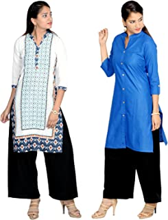 Prateek Exports Women's Cotton Printed Straight Kurti Combo Set