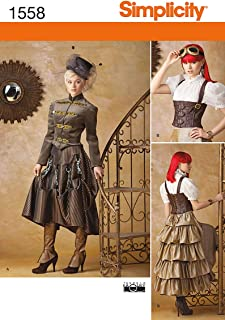 Simplicity 1558 Women's Steampunk Halloween and Cosplay Costume Sewing Patterns, Sizes 14-22