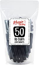 Keepie Factory Empty Lip Balm Containers - FDA APPROVED Non Toxic BPA Free MADE IN USA DIY Round Tubes & Caps Business Professional Quality, Black (50 Pack)