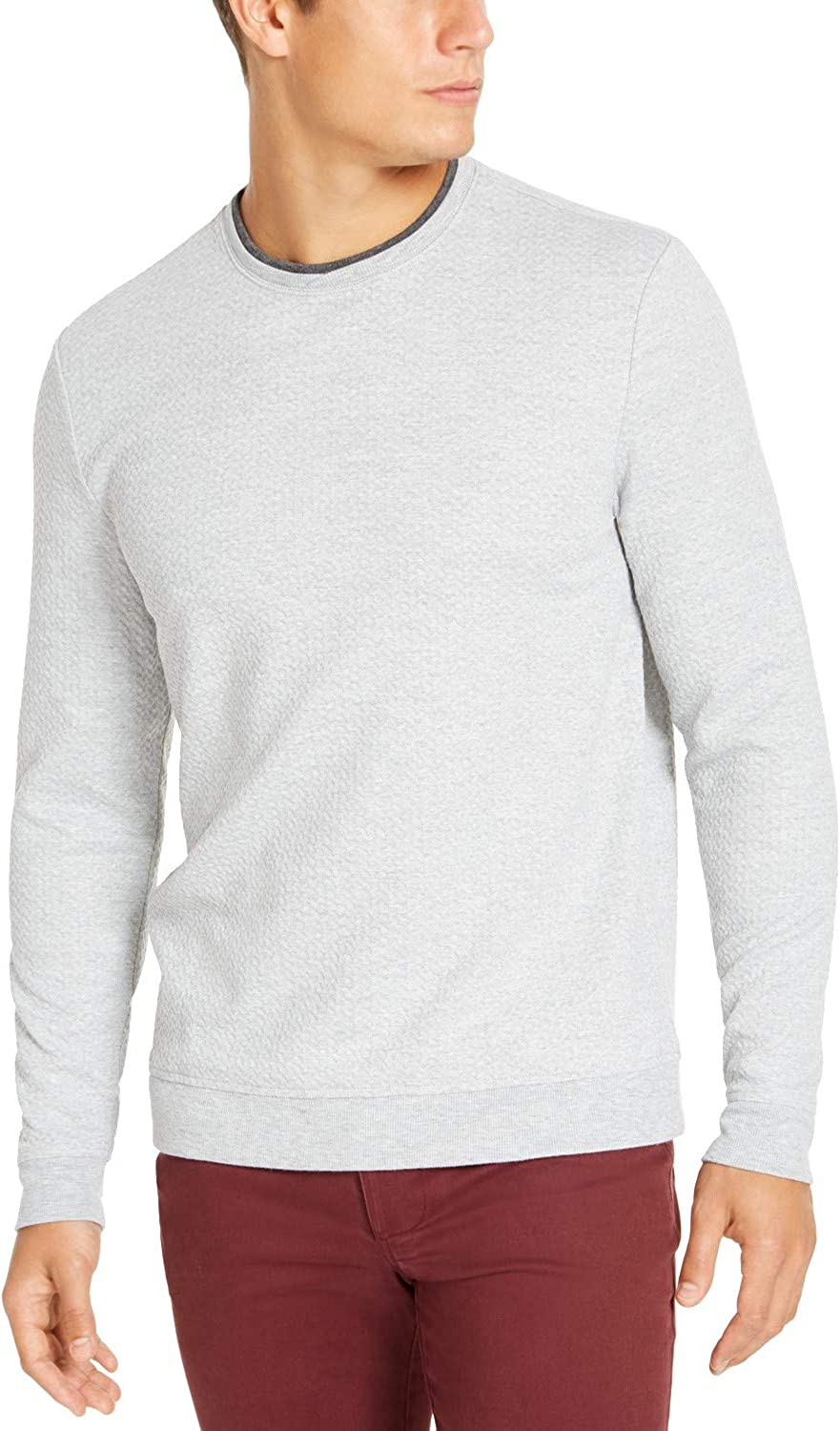 Tasso Elba Double Crewneck Pullover Sweater - Sterling Heather- Large Grey
