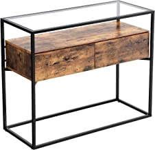 VASAGLE Industrial Console Table, Tempered Glass Table with 2 Drawers and Rustic Shelf, Decoration Sideboard, in Hallway Lounge or Foyer, Stable Iron Frame ULNT11BX