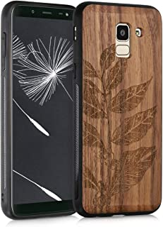 kwmobile Wooden Case for Samsung Galaxy J6 - Hard Case with TPU Bumper - Leaves and Berries, Walnut