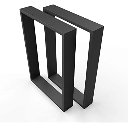 sossai® Design XXL Pied de Table en Profilés d'Acier TKK3   2 pièces   couleur noir   Largeur 60 cm x hauteur 72 cm   style industriel