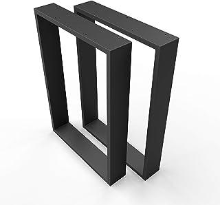 sossai® Design XXL Pied de Table en Profilés d'Acier TKK3 | 2 pièces | couleur noir | Largeur 50 cm x hauteur 72 cm | styl...