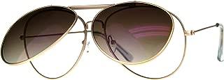 Flip Up Aviator Sunglasses Clear Lens Glasses Unisex Metal Aviators UV 400