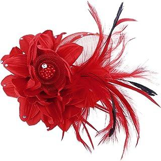Lurrose Broches de Plumas de Flores Broches de corpiño Broche de Horquilla Pinzas para el Cabello Hechas a Mano de Flores ...