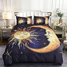 WURUIBO Boho Bedding Cover Set for Kids Queen, Sun and Moon Pattern Soft Microfiber Includes 1 Duvet Cover with Zipper Ties and 2 Pillow Covers, 90