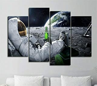 DOLUDO Canvas Painting Print Astronaut Drinking Beer in Space Poster Wall Art 4 Panel for Men Room Bedroom Decor Gift by Pine Wooden Frame Ready to Hang
