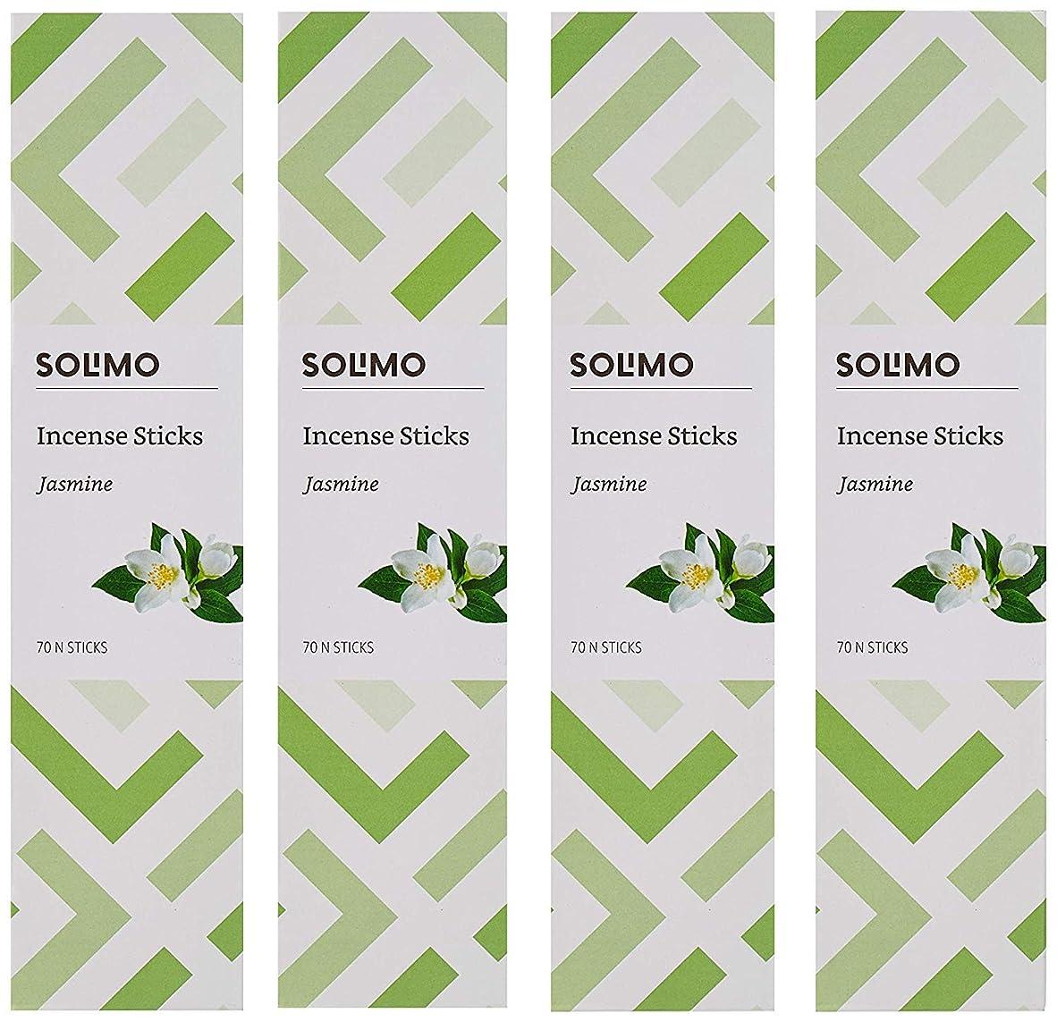 グラマーのれん丁寧Amazon Brand - Solimo Incense Sticks, Jasmine - 70 sticks/pack (Pack of 4)