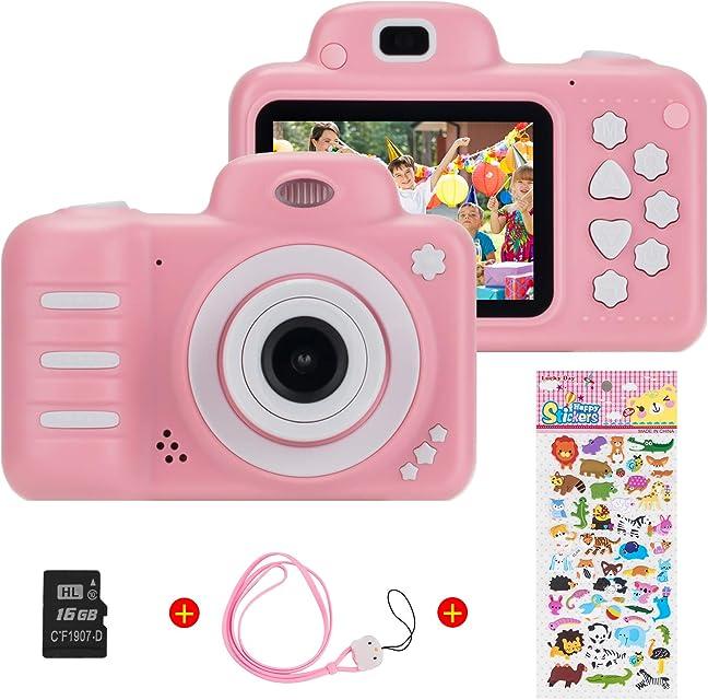Vannico Camara Fotos Camara para Niños Cámaras de Video para niños Cámara Digital 8MP 1080P HD Juguetes para niña de 3-10 años con Tarjeta de 16GB TF (Rosa)