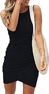 BTFBM Women Casual Crew Neck Ruched Sleeveless Tank Bodycon 2021 Shirt Short Mini Dresses