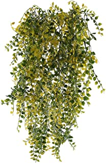 XYXCMOR Fake Hanging Plants 2pcs Artificial Vine Greenery Leaves Plastic UV Plants for Party Indoor Outdoor Shelve Hanging Basket Decor Yellow