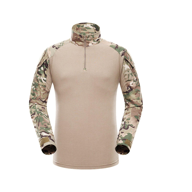 QMFIVE Táctico Camisa, Hombres Airsoft Militar Camuflaje Combate BDU Delgado Ajuste Camiseta Largo Manga con Cremallera: Amazon.es: Deportes y aire libre