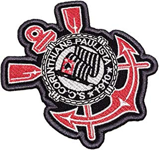 TSP156T Corinthians Brazil Soccer Emblem Tag Embroidered Patch Iron or Sew Size 2.95 × 3.34 in.