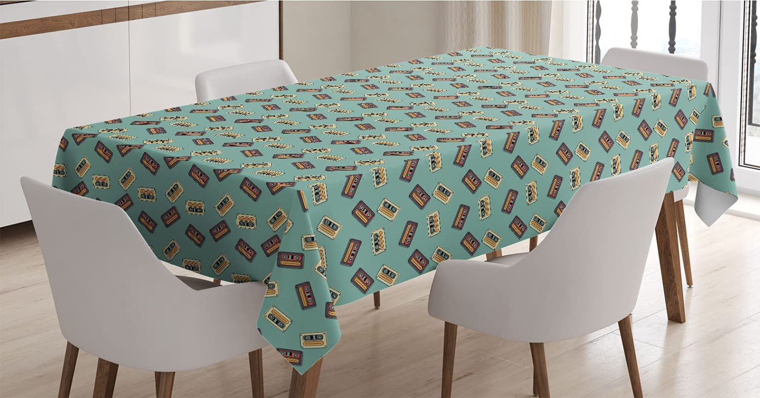 Ambesonne 1990s Very popular Tablecloth Repeating Cassette Retro Cheap bargain Composition