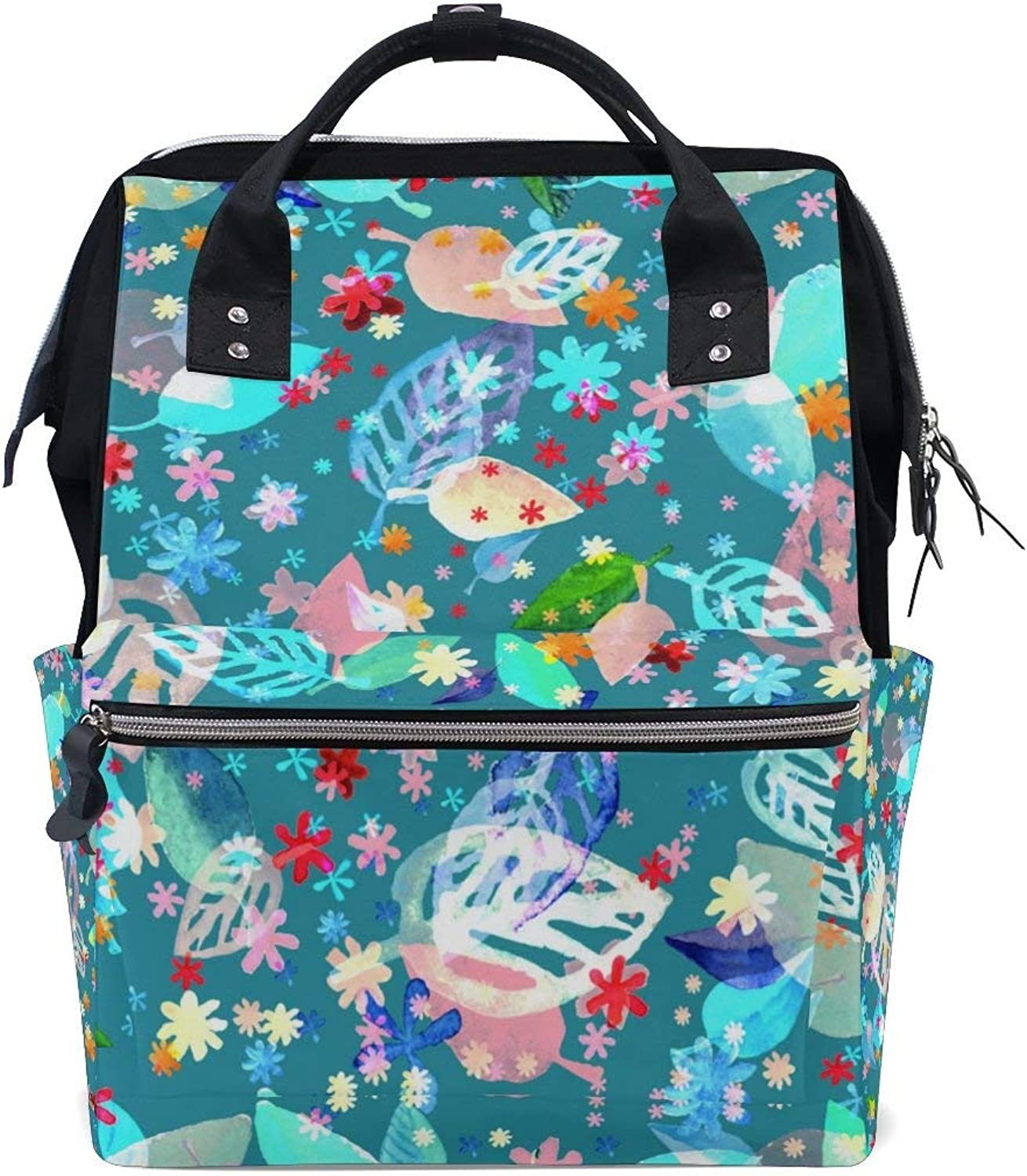 bluee Foliage Pattern Fashion Diaper Bags Mummy Backpack Multi Functions Large Capacity Nappy Bag Nursing Bag for Baby Care for Traveling