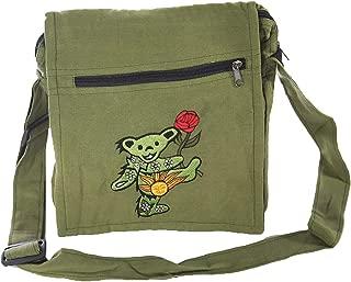 Jayli Cotton Square Shoulder Bag with Embroidered Dancing Aiko Bear   Grateful Dead   GD-B106