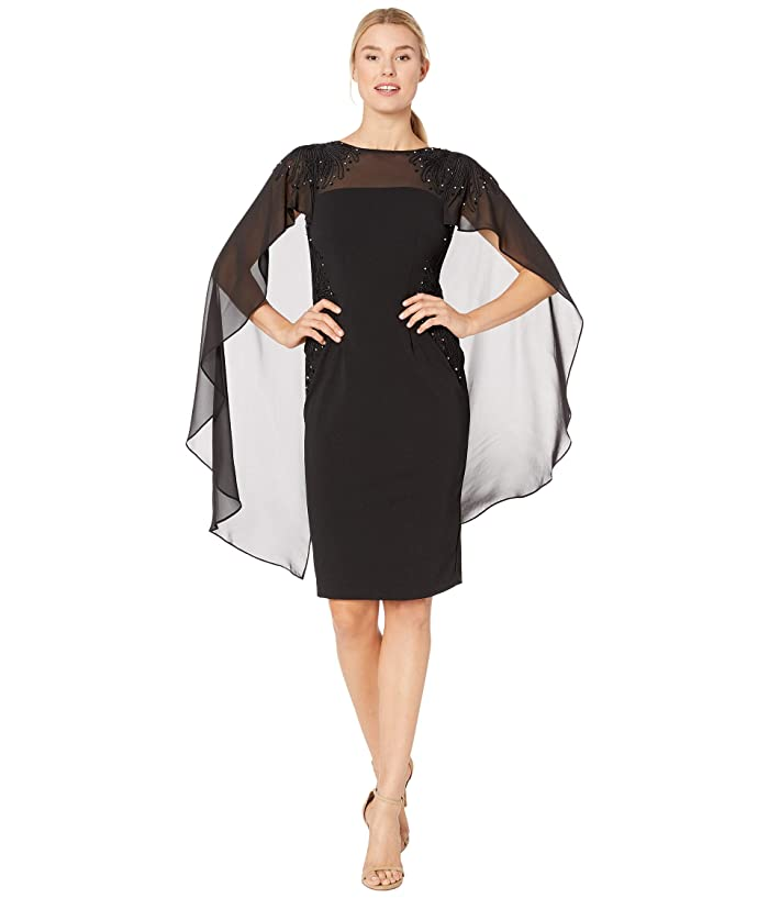Adrianna Papell  Crepe Cocktail Dress with Soutach Embroidery (Black) Womens Dress