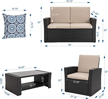 Shintenchi 4-Piece Outdoor Patio Furniture Set, Wicker Rattan Sectional Sofa Couch with Glass Coffee Table   Black