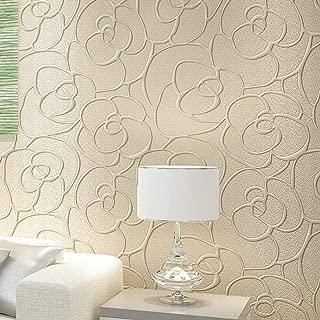 Rollo de papel tapiz KeTian para dormitorio sala de estar texturizado con profundo grabado en relieve sin tejido con flores en 3D minimalista y moderno crema 0.53m x10m=5.3m2