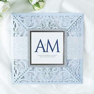 Azzurro opaco carta con busta partecipazioni matrimonio taglio laser fai da te inviti matrimonio - campione prestampato !!