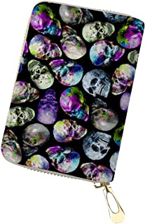 Horeset RFID Wallet Identity Protection Skull Patterns Travel Credit Card Case PU Leather Purse RFID Blocking Holder for Women Ladies Girls men 6