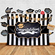 2019 Graduation Party Backdrop - Classy Black, White and Gold Theme Photography Fabric Backdrop and Studio Props DIY Kit. Great as Photo Booth Background Party Supplies and Prom Banner Decorations