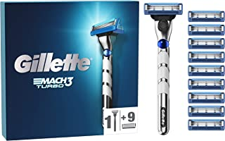 Gillette Mach3 Turbo Men's Razor with Lubricated Strips + 9 Refill Blades