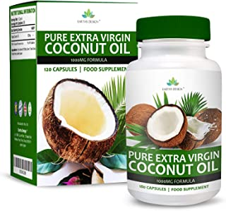 Coconut Oil - MCT Oil Capsules - 1000mg - Pure & Virgin Oil with Natural MCT Fatty Acids - For Men & Women - 180 Capsules (3 Months Supply) by Earths Design