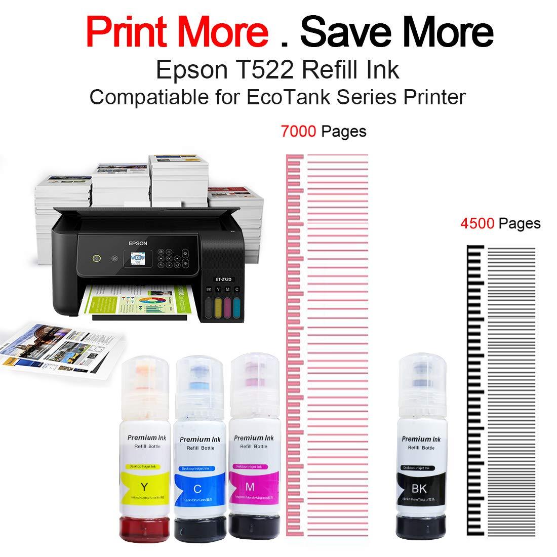 Printers Jack Compatiable Epson T522 Refill Ink Bottle Kit For Epson Ecotank Et 2720 Et 4700 Regular Refilled T522 Ink Amazon Sg Electronics
