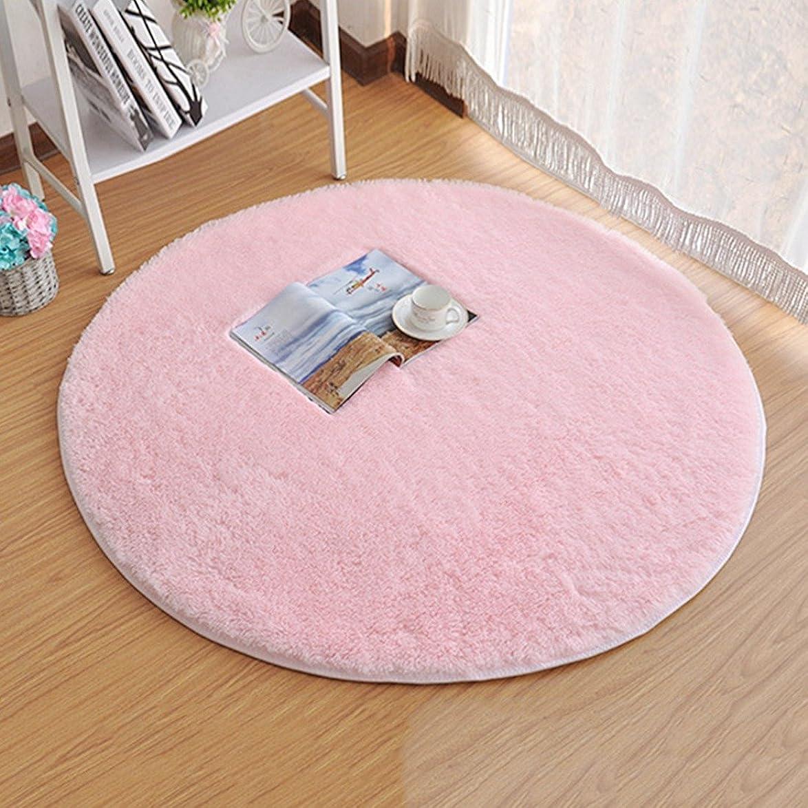 重要成功するロビーJiyaru ラグ カーペット 円形 ラグマット ホットカーペット 120cm シャギー 丸い マット マイクロファイバー 絨毯 ブランケット チェアマット 折り畳み 滑り止め付き 床暖房対応 (梱包:折り畳み) ピンク