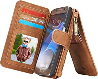 Protective Case Compatible with Samsung Compatible Samsung Galaxy S7 / G930 Multifunctional Leather Billfold with Detachable Magnetic PC Protective Case & 13 Card Slots & 1 Photo Frames & 1 Zipper Wal