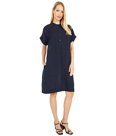 Eileen Fisher Stand Collar Short Sleeve Dress (Ink) Women