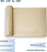 E&K Sunrise 12' x 30' Beige Sun Shade Fabric Sunblock Shade Cloth Roll, 95% UV Resistant Mesh Netting Cover for Outdoor,Backyard,Garden,Greenhouse,Barn,Plant (Customized