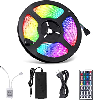 Led Strip Lights, 16.4ft LED Flexible Strip Lights, 150 Units 5050 RGB LED Light Strip Kit with 44Key Remote Controller and Power Supply,Non-Waterproof 12V DC, for Home Kitchen Bedroom Car