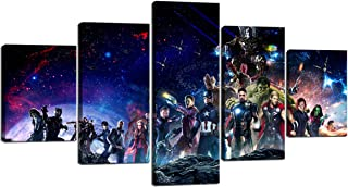 The Avengers Infinite War Canvas Wall Art for Living Room Office Home Decor HD Print Painting, 5 Pieces Mordern Picture Wall Decoration Framed Ready to Hang for Children Gift (60''W x 32''H)