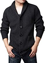 Yeokou Men's Casual Slim Thick Knitted Shawl Collar Cardigan Sweaters Pockets
