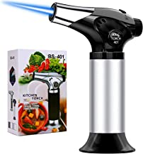 QIBOX Butane Torch, Refillable Culinary Blow Torch, Mini Kitchen Cooking Torch Lighter with Safety Lock & Adjustable Flame...