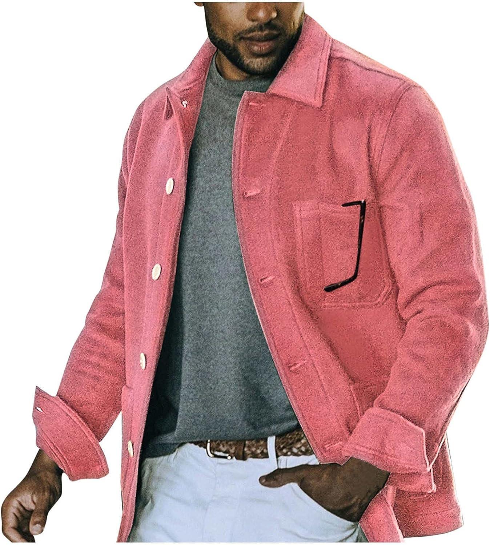 Mens Jacket Casual Lightweight Cotton Turn Down Collar Button Down Coat Multi-Pockets Lightweight Outdoor Jackets