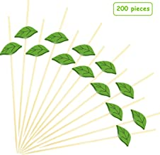 200 Pieces Cocktail Picks 4.7 Inch Bamboo Food Picks Sandwich Appetizer Cocktail Picks Fruit Toothpick for Hawaii Wedding Birthday Beach Party Supplies, Green Leaves