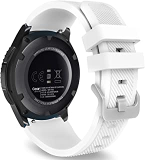 MoKo Band Compatible with Samsung Gear S3 Frontier/Classic/Galaxy Watch 46mm/Huawei Watch GT 46mm/Ticwatch pro/S2/E2, Silicone Sport Strap Fit 22mm Band, White