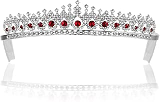 SAMKY Rhinestone Crystal Pageant Bridal Tiara Crown - Red Crystals Silver Plated T561