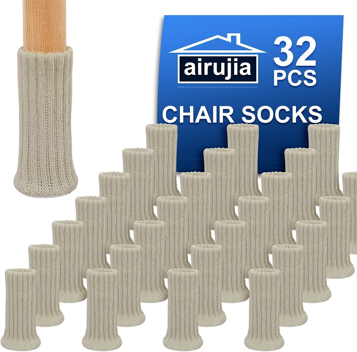 AIRUJIA Chair Leg Socks, 32PCS Knitted Elastic Furniture Socks Chair Leg Floor Protectors, Double Thickness, Fit Square Round Chair Feet with Diameter from 3/4 inch to 1-1/2 inch, Beige