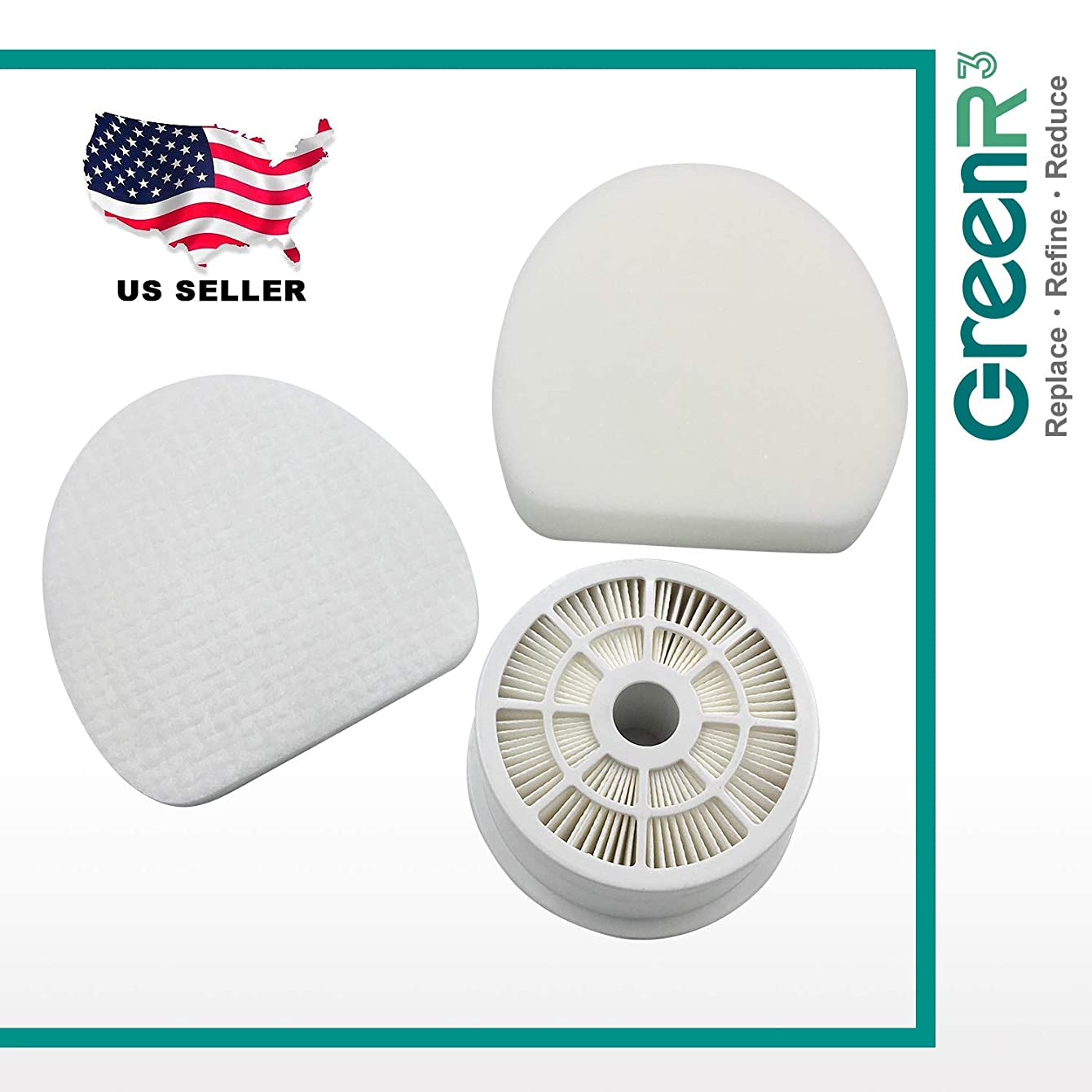 GreenR3 1-Pack HEPA Air Filter Set Replaces Shark Part# XHF400 and XFF400 for Shark NV400 NV401 NV402. Includes 1 x HEPA Filter + 1 x Foam Pre-Filter